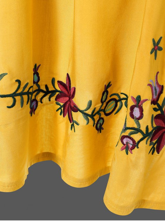 Embroidered Floral Bib Tunic Dress - YELLOW ONE SIZE Mobile