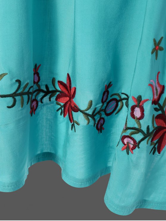 Embroidered Floral Bib Tunic Dress - LAKE BLUE ONE SIZE Mobile