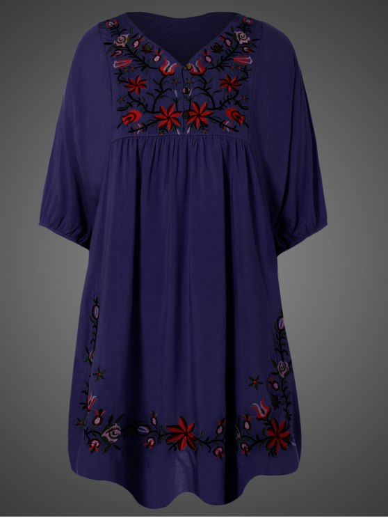 Embroidered Floral Bib Tunic Dress - PURPLISH BLUE ONE SIZE Mobile