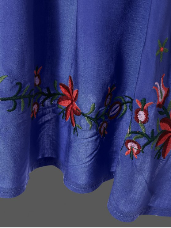 Embroidered Floral Bib Tunic Dress - DENIM BLUE ONE SIZE Mobile