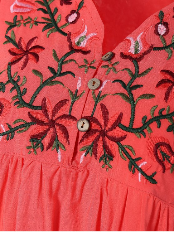 Embroidered Floral Bib Tunic Dress - WATERMELON RED ONE SIZE Mobile