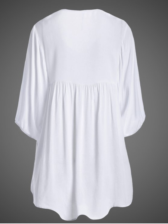 Embroidered Floral Bib Tunic Dress - WHITE ONE SIZE Mobile