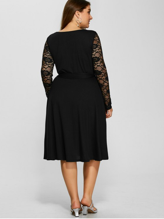 Lace Sleeve Surplice Plus Size Dress - BLACK 3XL Mobile