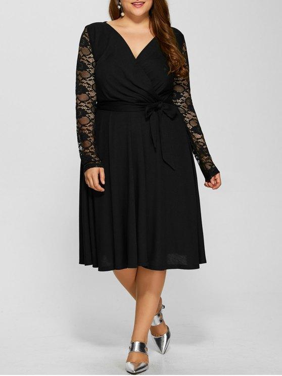 Lace Sleeve Surplice Plus Size Dress - BLACK 4XL Mobile