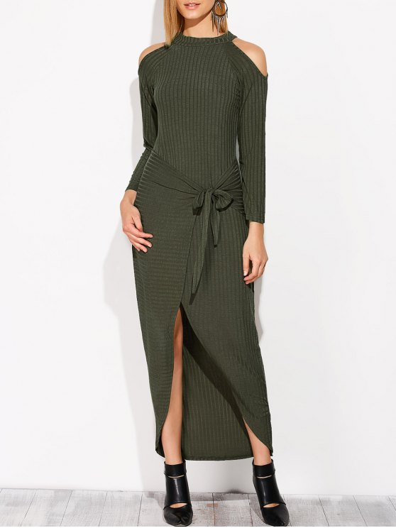Asymmetric Cold Shoulder Knitted Dress - BLACKISH GREEN S Mobile