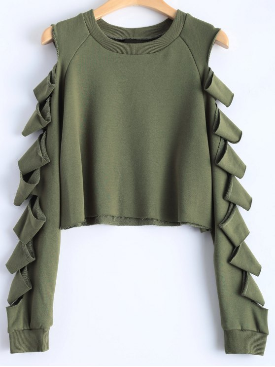 shop Ripped Sleeve Cropped Sweatshirt - ARMY GREEN M
