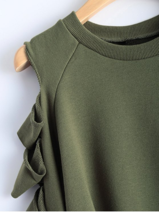 Ripped Sleeve Cropped Sweatshirt - ARMY GREEN S Mobile