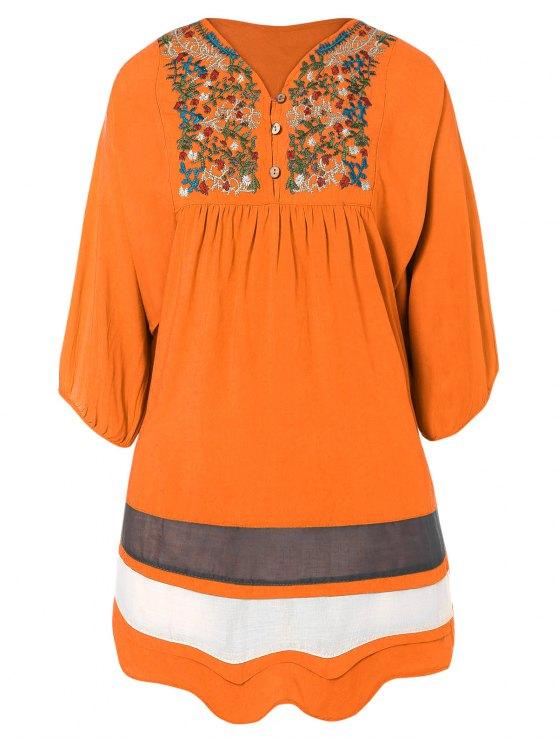 Vestido Tunica Bordado y Malla - rojo, naranja, Única Talla
