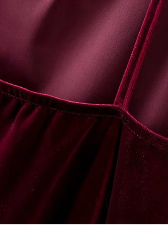 Plunging Neck Pleuche Cami Dress - BURGUNDY S Mobile
