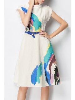Paint Splatter A Line Dress With Belt - White S