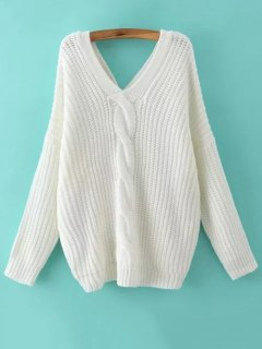 Cable Knit V Neck Sweater With Back Buttons - White M