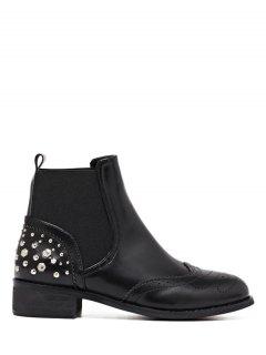 Engraving Rivet PU Leather Short Boots - Black 37