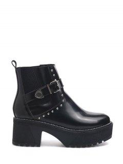 Rivet Buckle Strap Platform Boots - Black 39