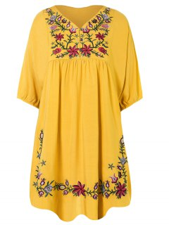 Floral Embroidered Bib Tunic Dress - Yellow