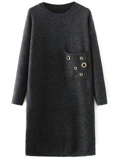 Jewel Neck Pocket Sweater Dress - Black
