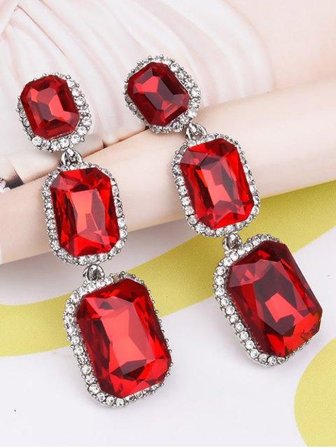 women Geometric Faux Gemstone Rhinestone Earrings - RED  Mobile