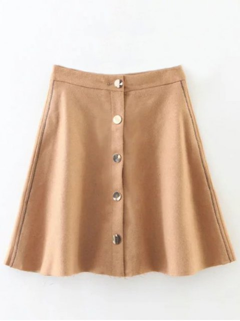 hot Wool Blend Flounce Mini Skirt - KHAKI M Mobile
