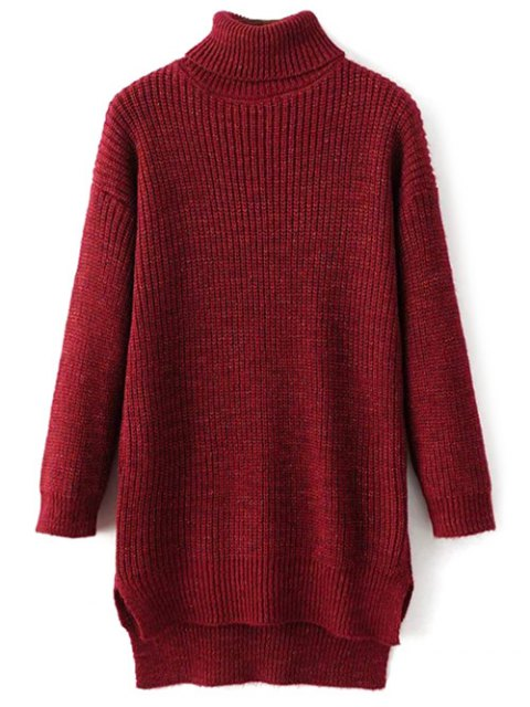 chic Side Slit Turtleneck Heather Sweater - WINE RED ONE SIZE Mobile