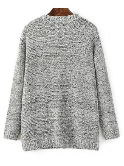 women's Front Open Cardigan with Pockets - GRAY ONE SIZE Mobile
