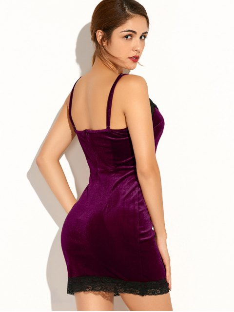 ladies Lace Spliced Cami Bodycon Party Dress - PURPLISH RED L Mobile