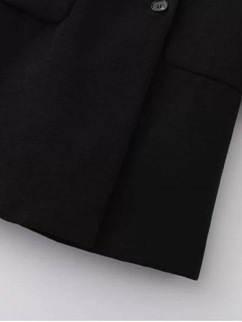 fashion Back Slit Lapel Collar Peacoat - BLACK L Mobile