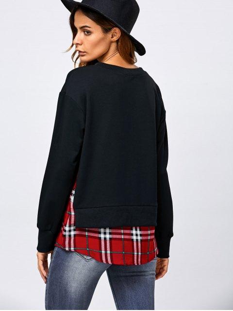 lady Plaid Patchwork Side Slit Sweatshirt - BLACK XL Mobile