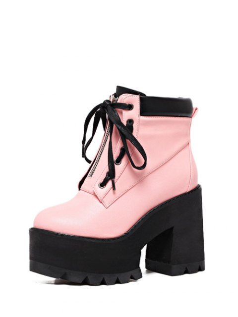 new Platform Chunky Heel Combat Boots - PINK 37 Mobile