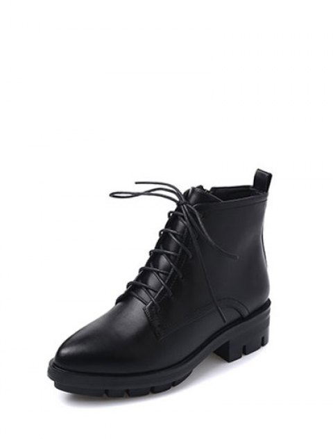 trendy Pointed Toe Chunky Heel Combat Boots - BLACK 38 Mobile