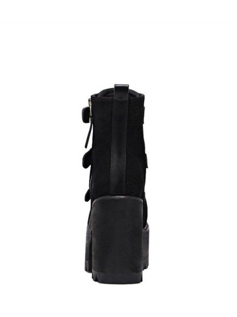 chic Platform Triple Buckles Chunky Heel Boots - BLACK 37 Mobile