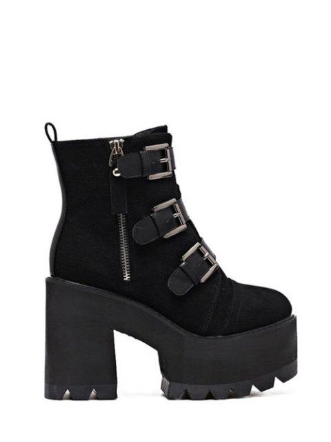 fashion Platform Triple Buckles Chunky Heel Boots - BLACK 39 Mobile