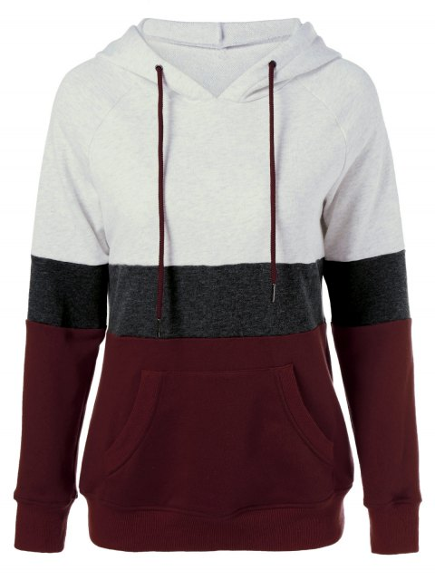 latest Color Block Drawstring Plus Size Hoodie - COLORMIX XL Mobile