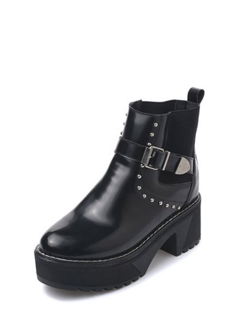 trendy Rivet Buckle Strap Platform Boots - BLACK 39 Mobile