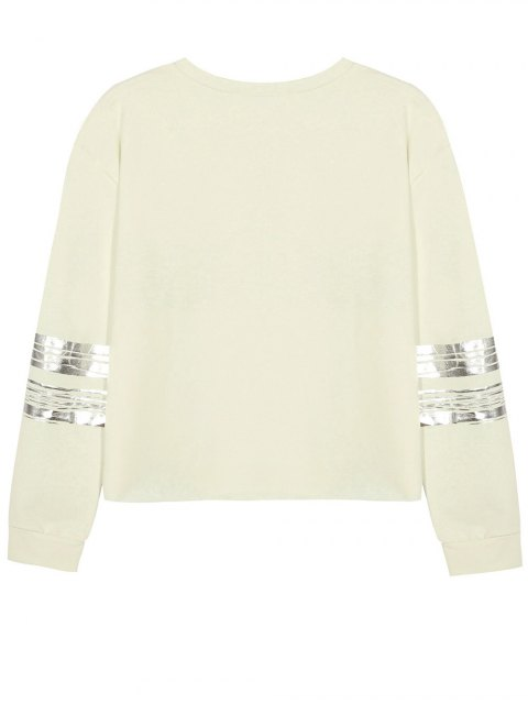 fancy Metallic Stripe Crew Neck Sweatshirt - BEIGE L Mobile