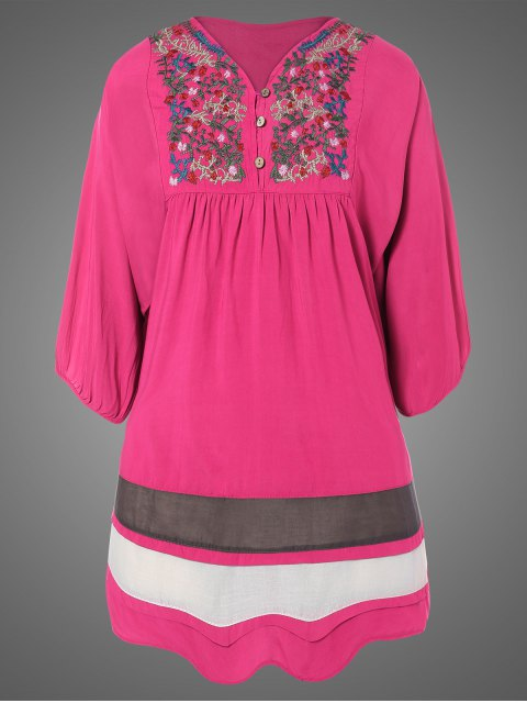 sale Plus Size Embroidered Bib Tunic Dress - ROSE RED ONE SIZE Mobile