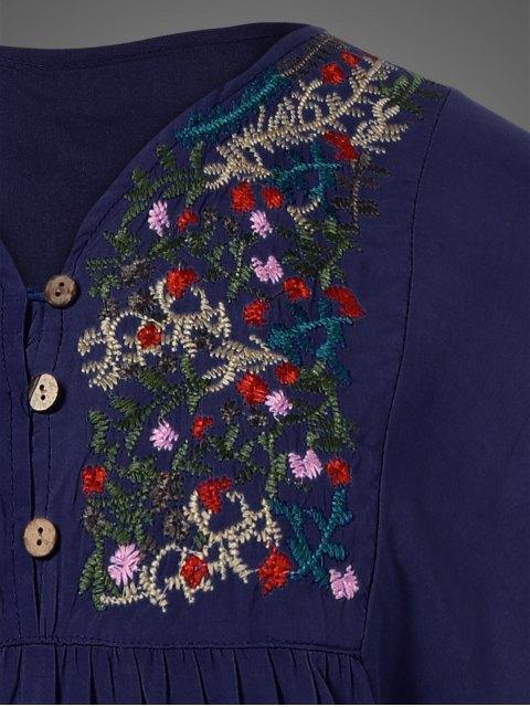 ladies Plus Size Embroidered Bib Tunic Dress - PURPLISH BLUE ONE SIZE Mobile