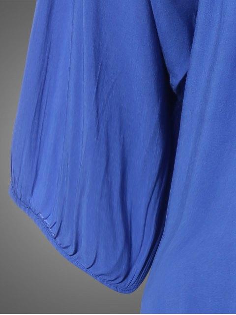 lady Plus Size Embroidered Bib Tunic Dress - DENIM BLUE ONE SIZE Mobile