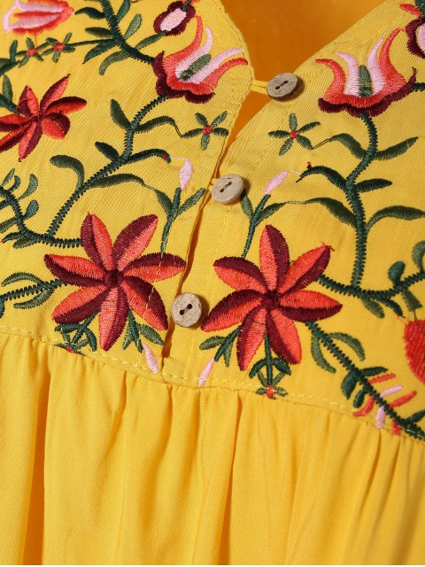 best Embroidered Floral Bib Tunic Dress - YELLOW ONE SIZE Mobile