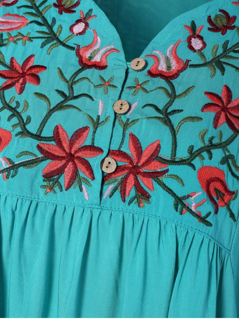 new Embroidered Floral Bib Tunic Dress - LAKE BLUE ONE SIZE Mobile