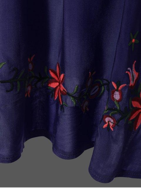 online Embroidered Floral Bib Tunic Dress - PURPLISH BLUE ONE SIZE Mobile