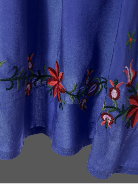 outfit Embroidered Floral Bib Tunic Dress - DENIM BLUE ONE SIZE Mobile