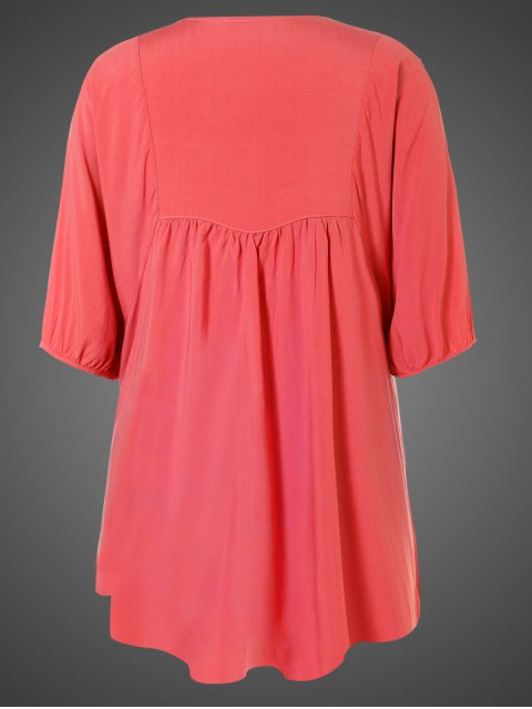 outfits Embroidered Floral Bib Tunic Dress - WATERMELON RED ONE SIZE Mobile