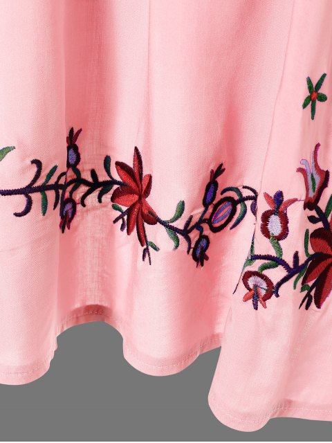 shops Embroidered Floral Bib Tunic Dress - PINK ONE SIZE Mobile