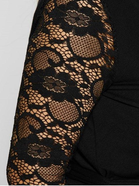 unique Lace Sleeve Surplice Plus Size Dress - BLACK 3XL Mobile