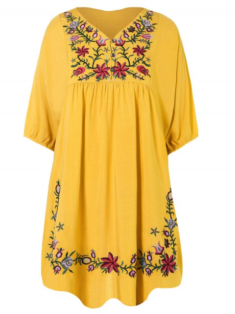 affordable Floral Embroidered Bib Tunic Dress - YELLOW ONE SIZE Mobile