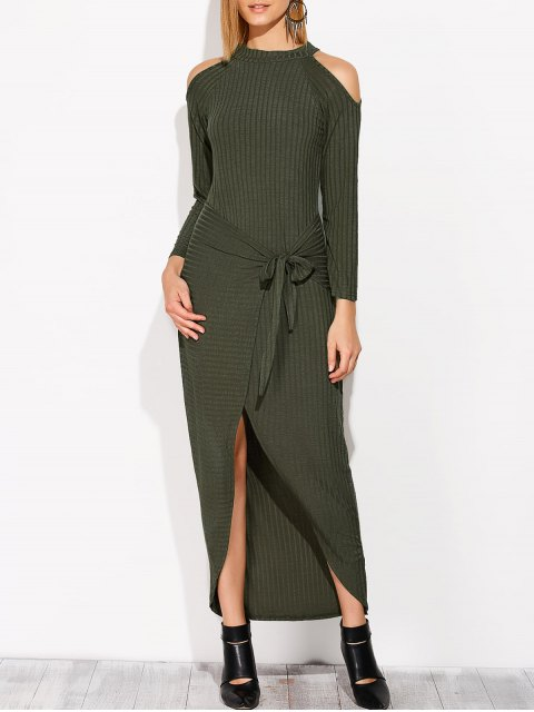 women Asymmetric Cold Shoulder Knitted Dress - BLACKISH GREEN M Mobile