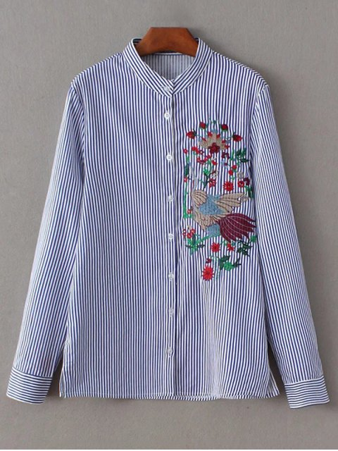 chic Striped Peacock Embroidered Shirt - STRIPE S Mobile