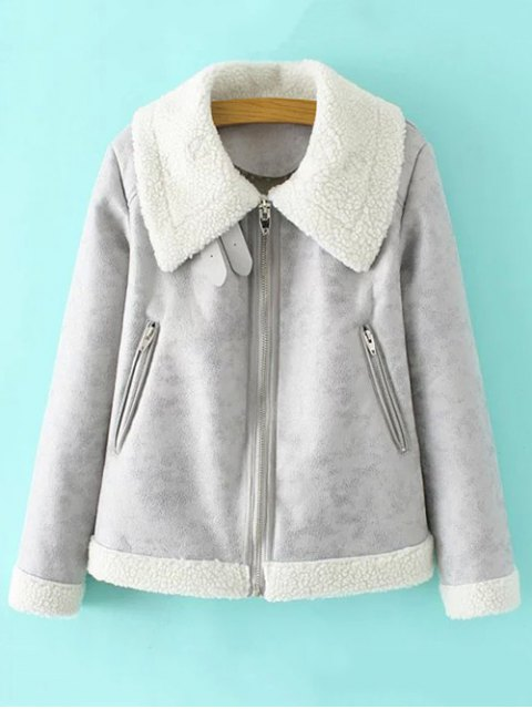 affordable Faux Leather Faux Shearling Jacket - GRAY L Mobile