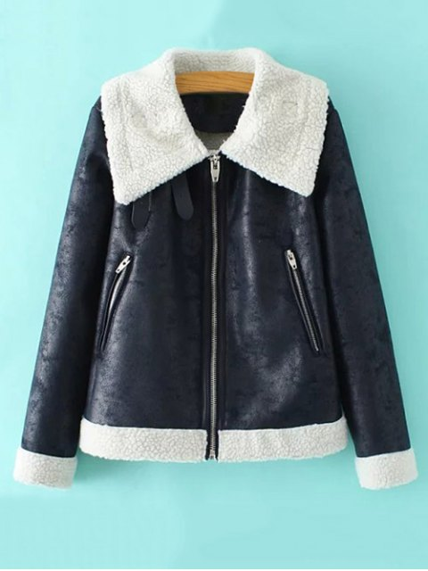 best Faux Leather Faux Shearling Jacket - CADETBLUE M Mobile