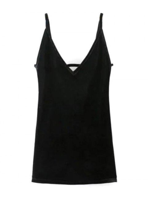 sale Plunging Neck Pleuche Cami Dress - BLACK L Mobile