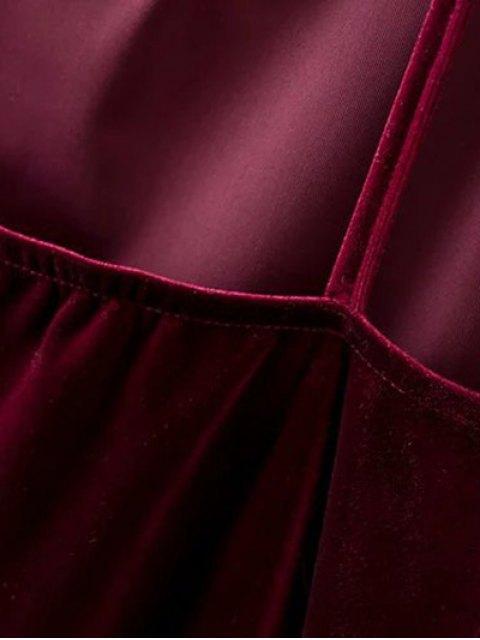 womens Plunging Neck Pleuche Cami Dress - BURGUNDY L Mobile